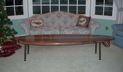 surfboard furniture. Hand Crafted Wooden Surfboard Furniture At The-fin-guy.com, Coffee Tables, Bartops, Mantels
