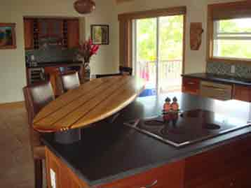 Gallery of handcrafted wooden surfboards as wall art and for Surfboard bar top